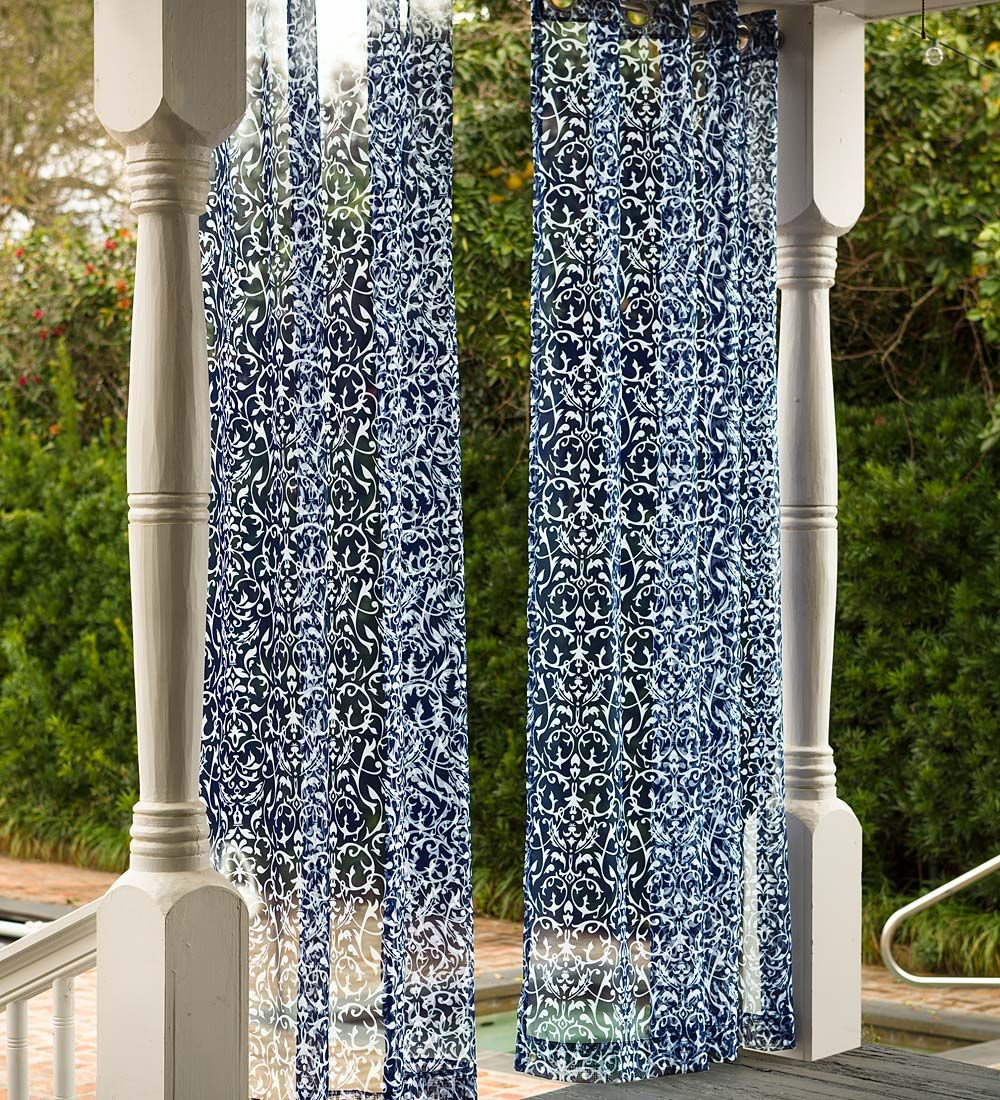 Sheer outdoor curtains - Filigree Outdoor Sheer Panel Brings Softness And Style To Your Porch Or Patio These Outdoor