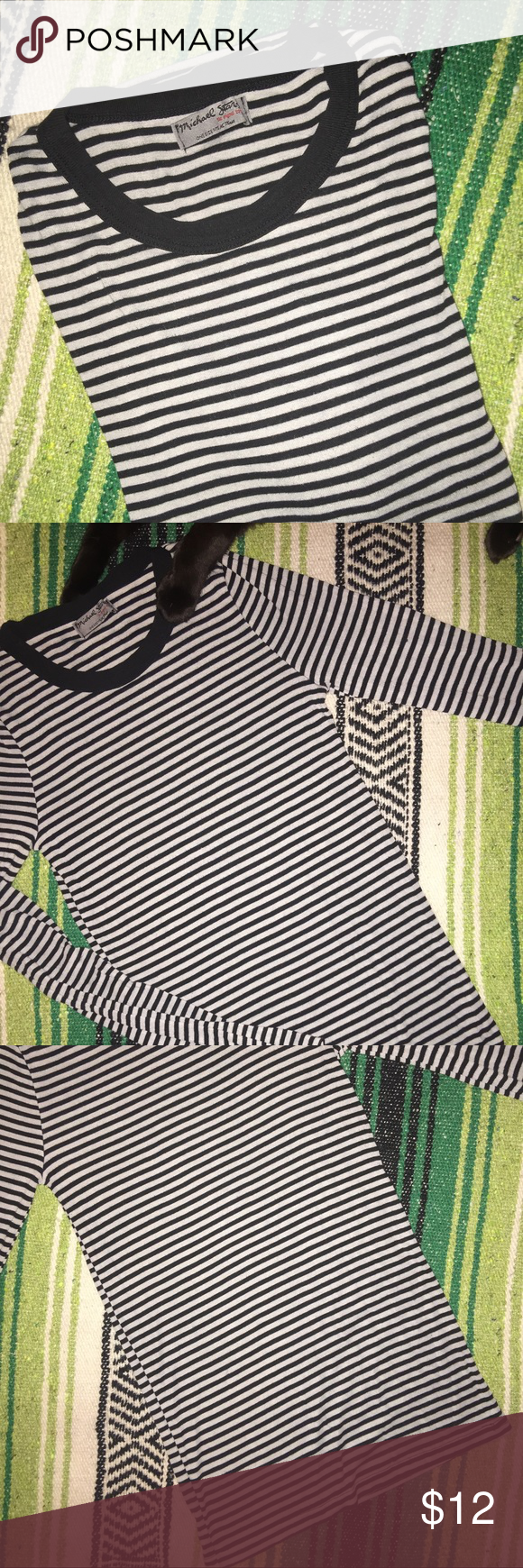 MICHAEL STARS STRIPED LONG SLEEVE TEE 50% POLY / 50% RAYON • BLACK AND GREY STRIPES • GOOD CONDITION • love this shirt, wish it fit me 😍 Michael Stars Tops Tees - Long Sleeve