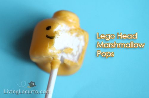 "Lego head marshmallow pops...  slice off the bottom of a large marshmallow, cut a circle out of it with a wilton decorating tip or whatever, and that is the ""connector"" on the top.  Dip in yellow candy melts and there you go! :)"