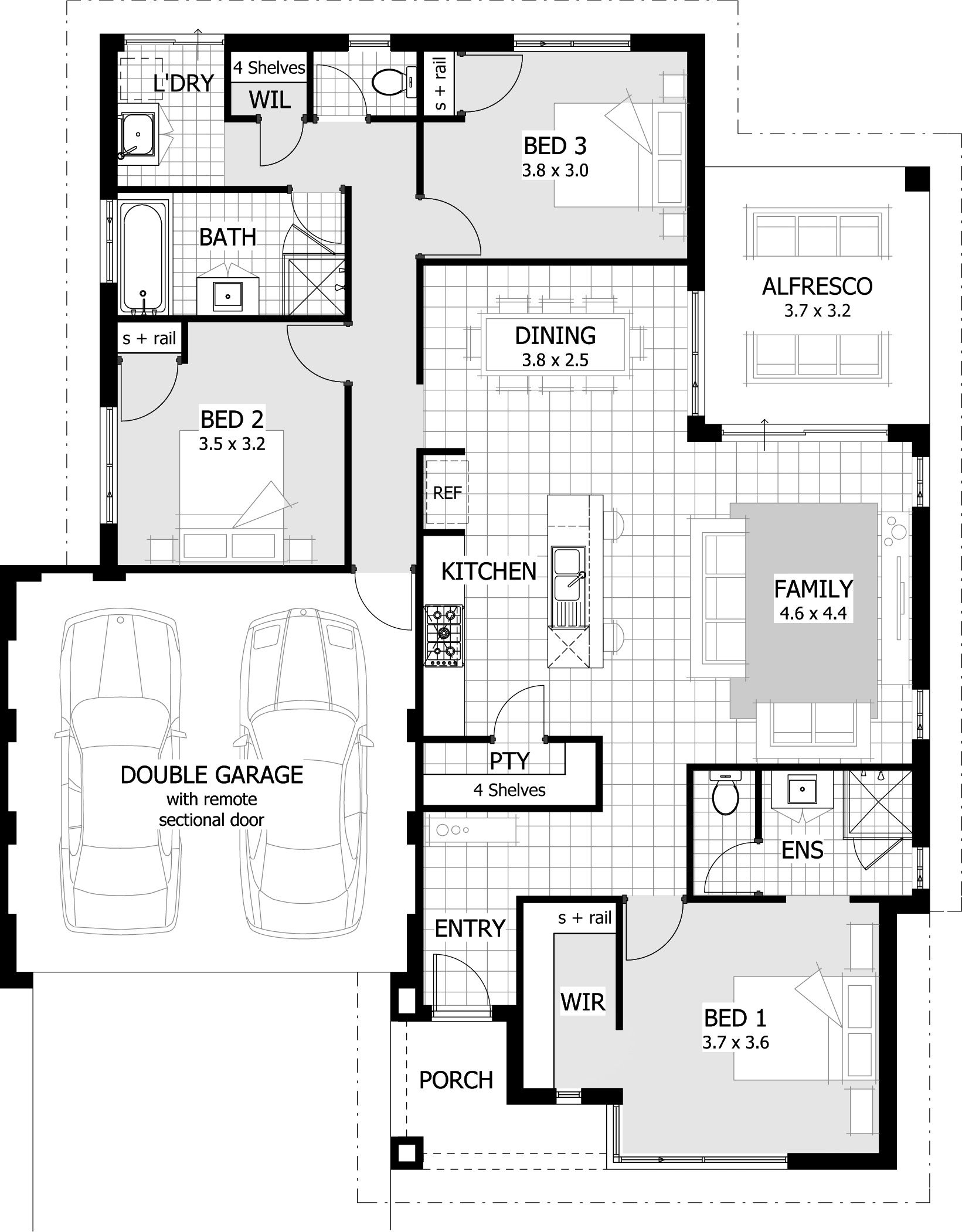 Valencia floor plan contempo floorplans pinterest for 3 bathroom house plans