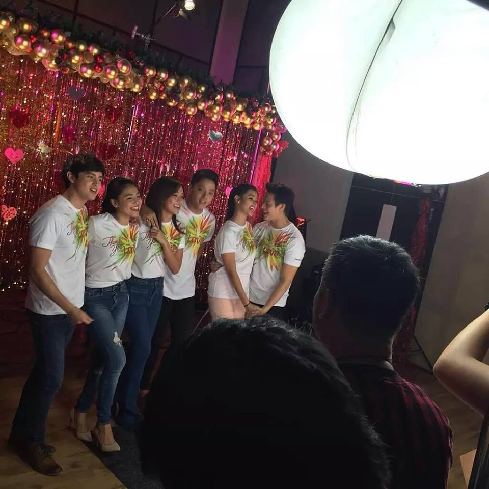 """Here are James Reid, Nadine Lustre, Kathryn Bernardo, Daniel Padilla, Liza Soberano, and Enrique Gil recording """"Thank You for the Love!"""" together for the 2015 ABS-CBN Christmas Station ID. They did a really, excellent, amazing job! Bravo! :-) #ABSCBNChristmasStationID #ThankYoufortheLove"""