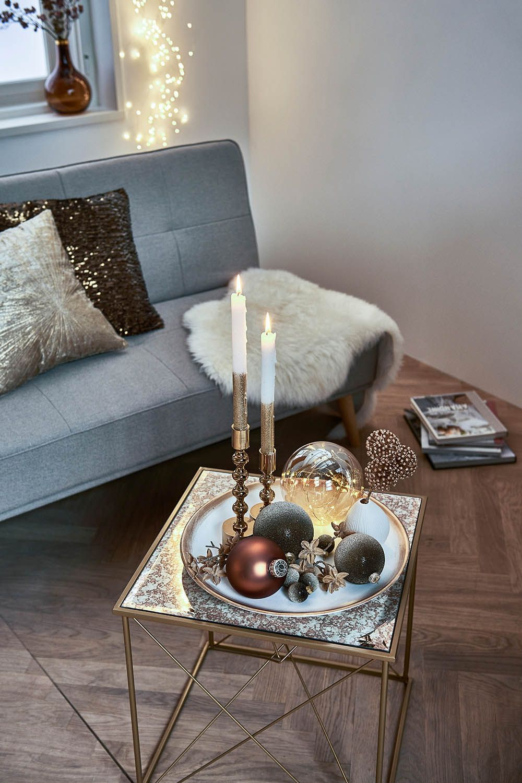 Winterliches Dekotablett in Creme und Gold für Dein Wohnzimmer