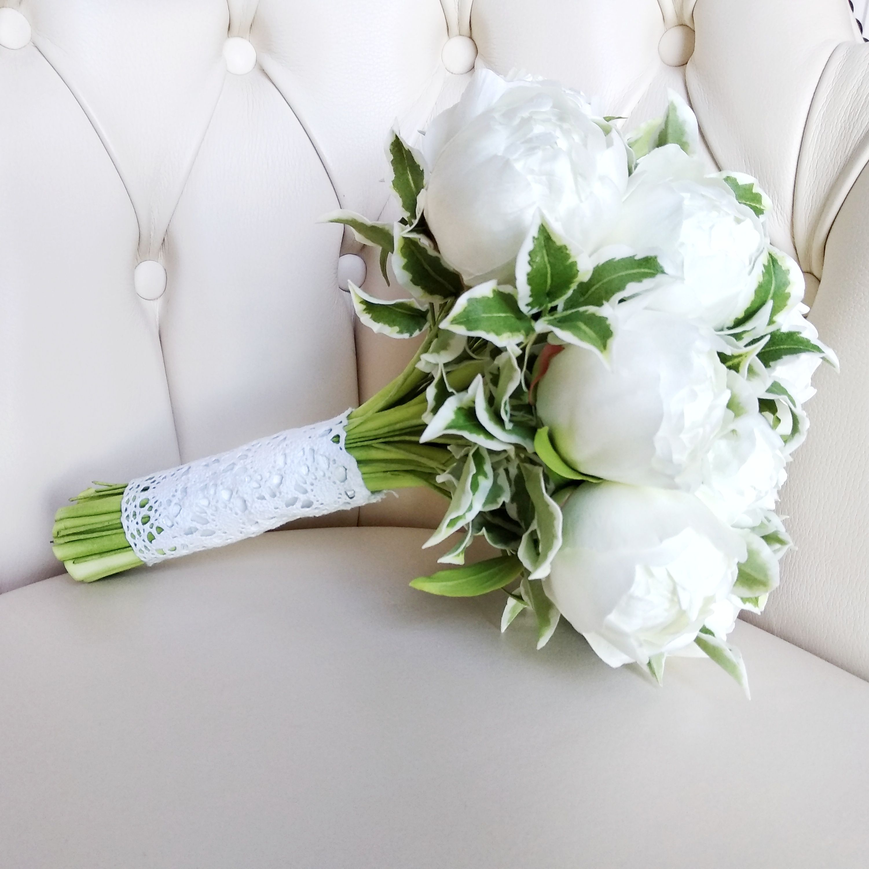 This White Peonies Bridal Bouquet Is Unique Alternative Chic