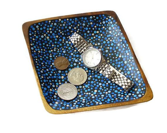 Hand Painted Polka Dot Wood Bowl  Change Holder by RetroModHome