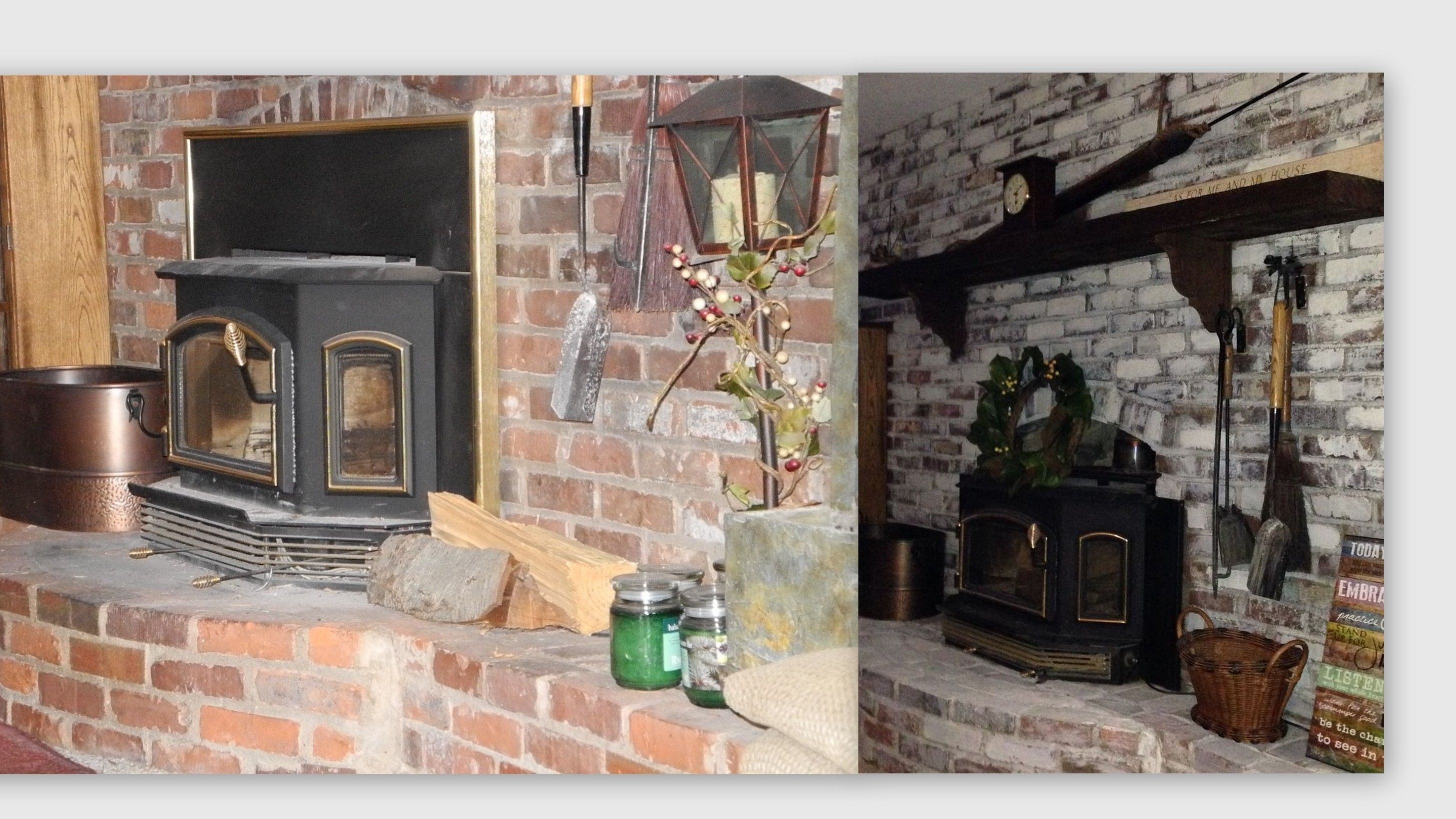 Before and After Fireplace Whitewash House and Home Pinterest