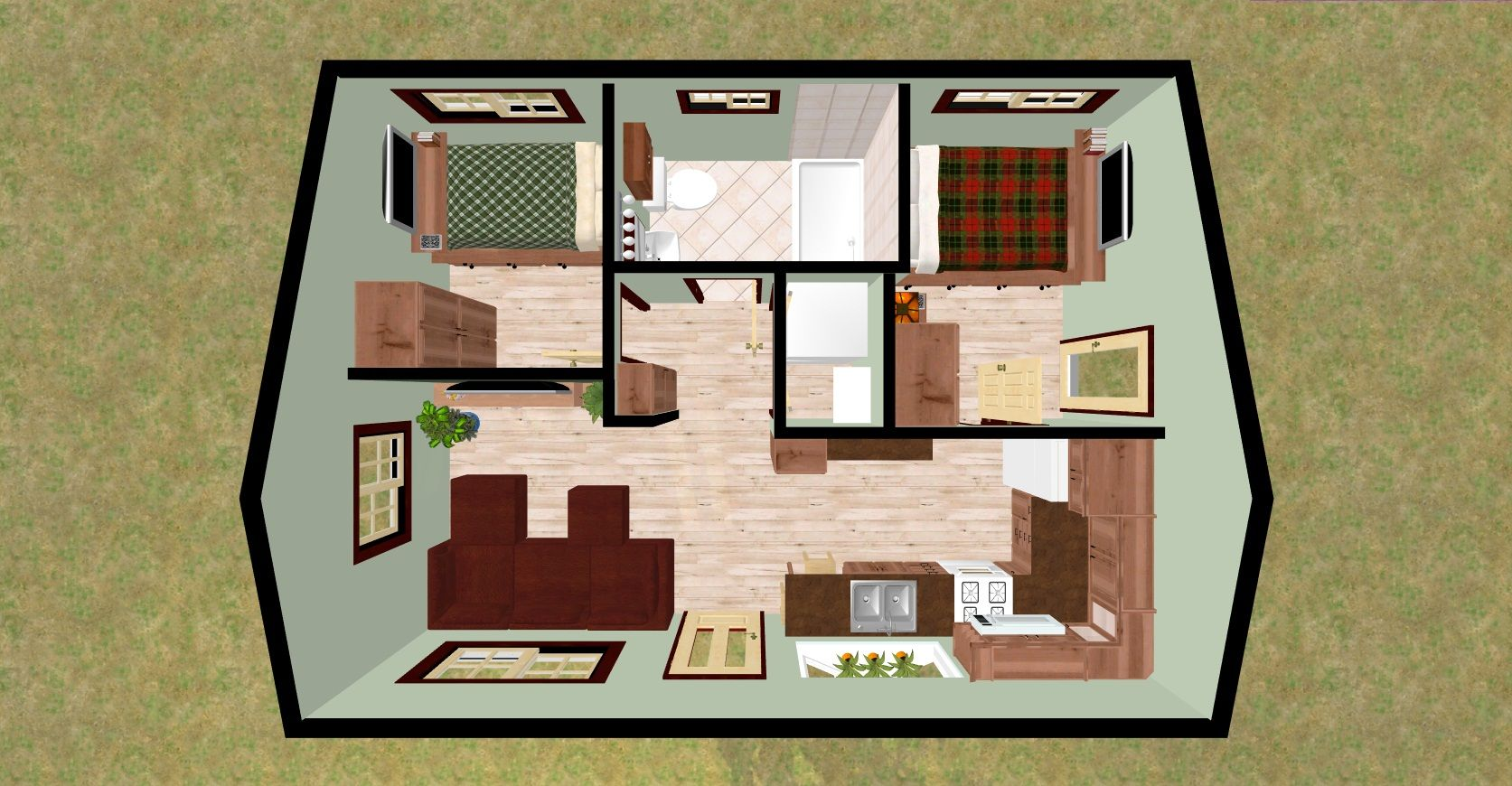 432 sq ft small house firefly 3d top for Two bedroom home plans