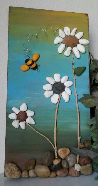 Love Love Love Bees And Flowers Especially Homemade From Reclaimed Wood And Local Rocks And Pebbles Pebble Art Painted Rocks Stone Art