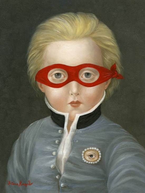"""Suitor with Red Mask and Lover's Eye"" 8×6 inches, oil on panel, Fatima Ronquillo."