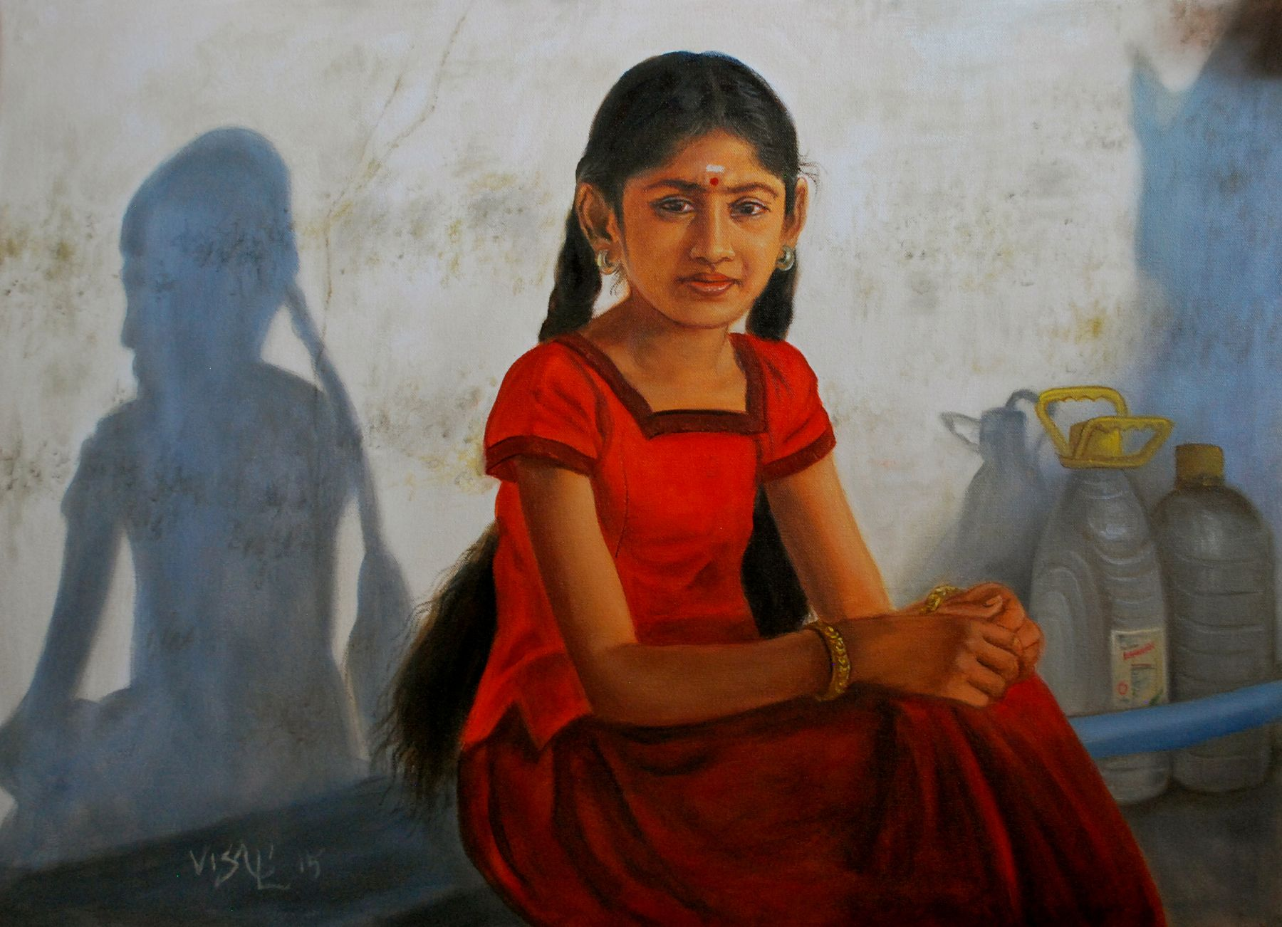 Tamil girl with two braids Painting of girl, Indian