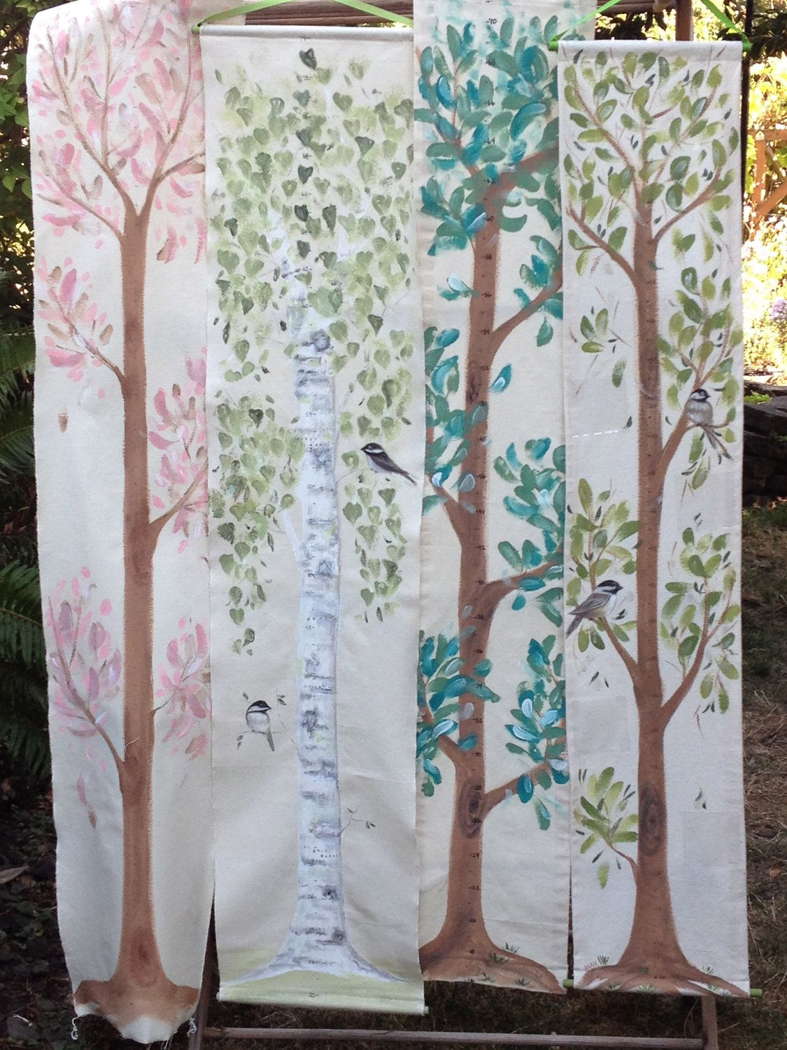Hand painted fabric banner growth chart tree kids stuff hand painted fabric banner growth chart tree geenschuldenfo Images