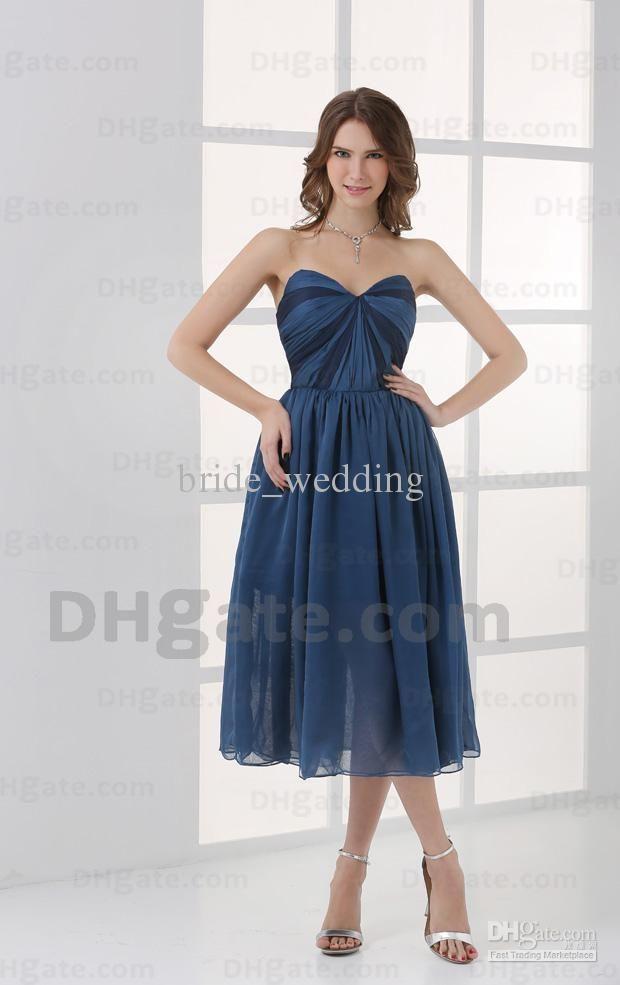 22fa4d2c427 Wholesale Denim Bridesmaid Dress Sheath Sweetheart Pleats Ruching Bodice  Panel Tea Length Party Dress Chiffon