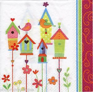 4-x-Single-Designer-PAPER-NAPKINS-Bird-Village-Birds-Houses-DECOUPAGE-CRAFTS