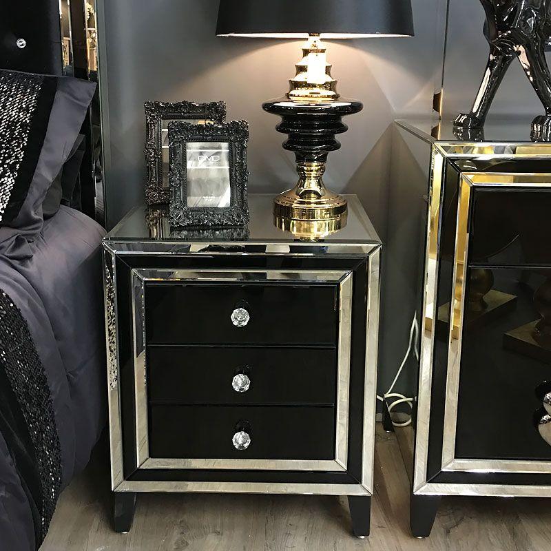 madison black glass 3 drawer bedside