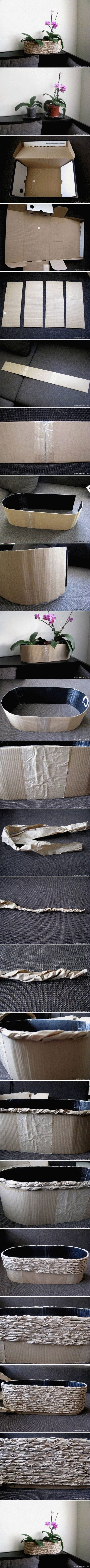 DIY Planter from Packing Paper and Cardboard