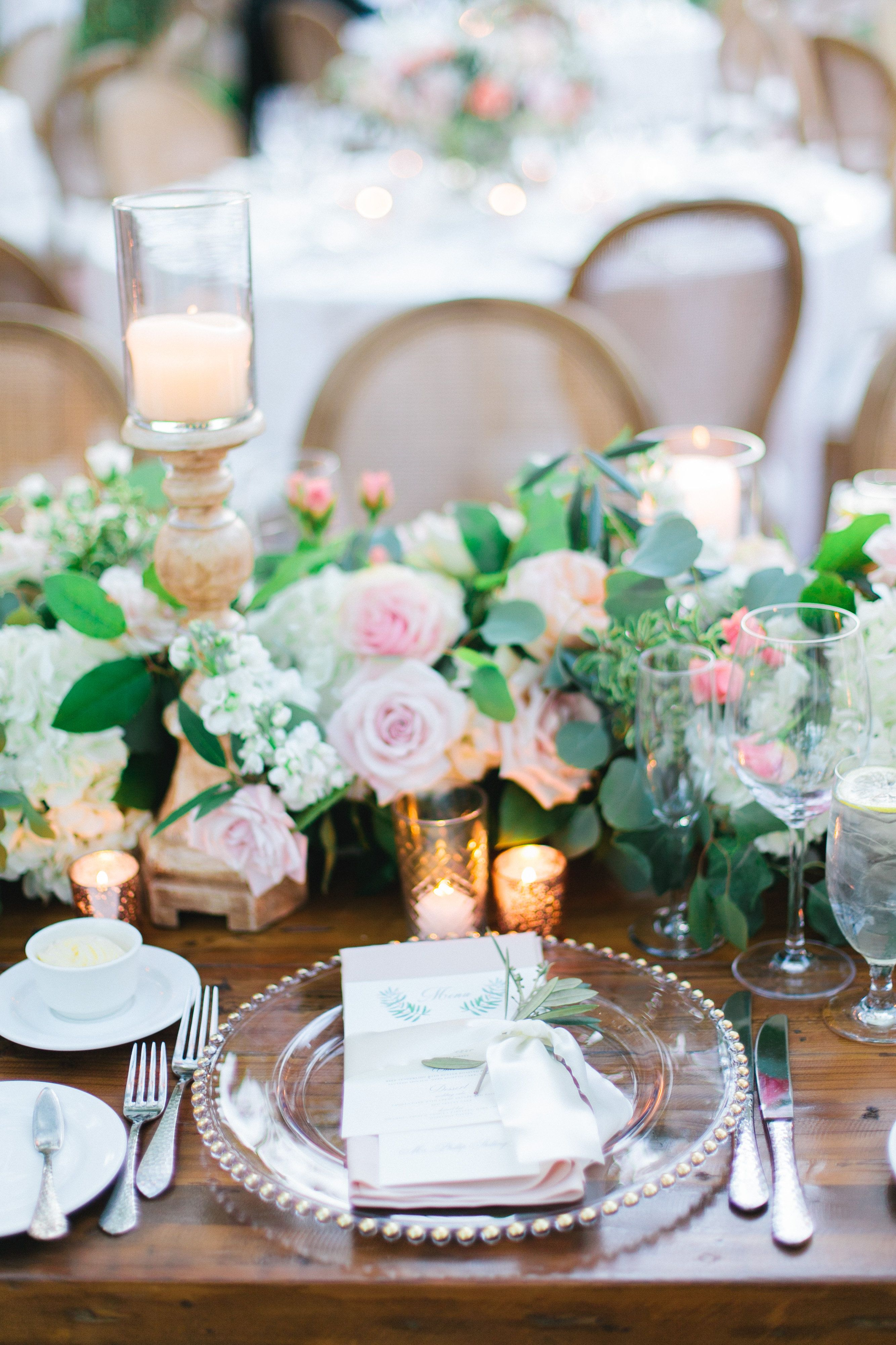 Gold Beaded Chargers And Pink Napkins Pink Napkins