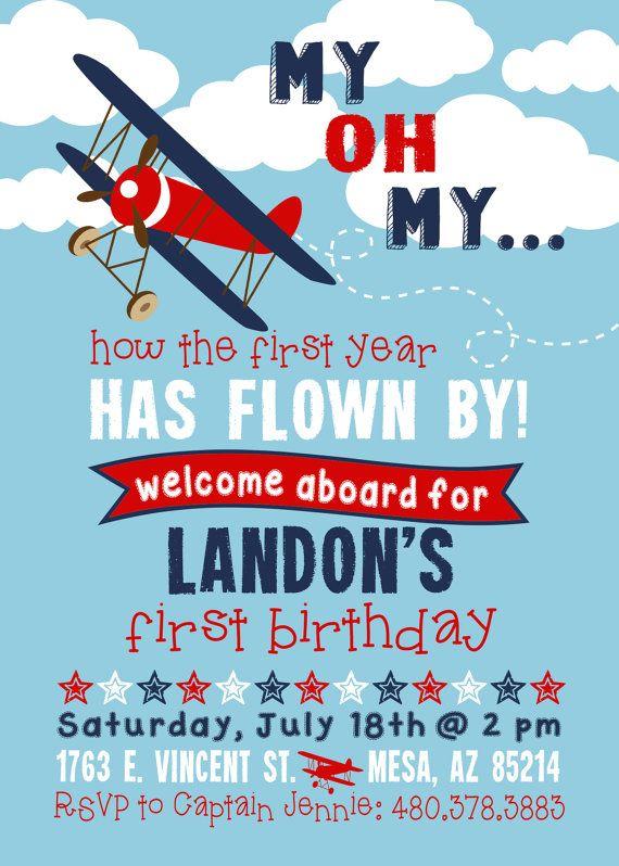 Airplane Birthday Invitation Boy Airplane Invitation First Birthday