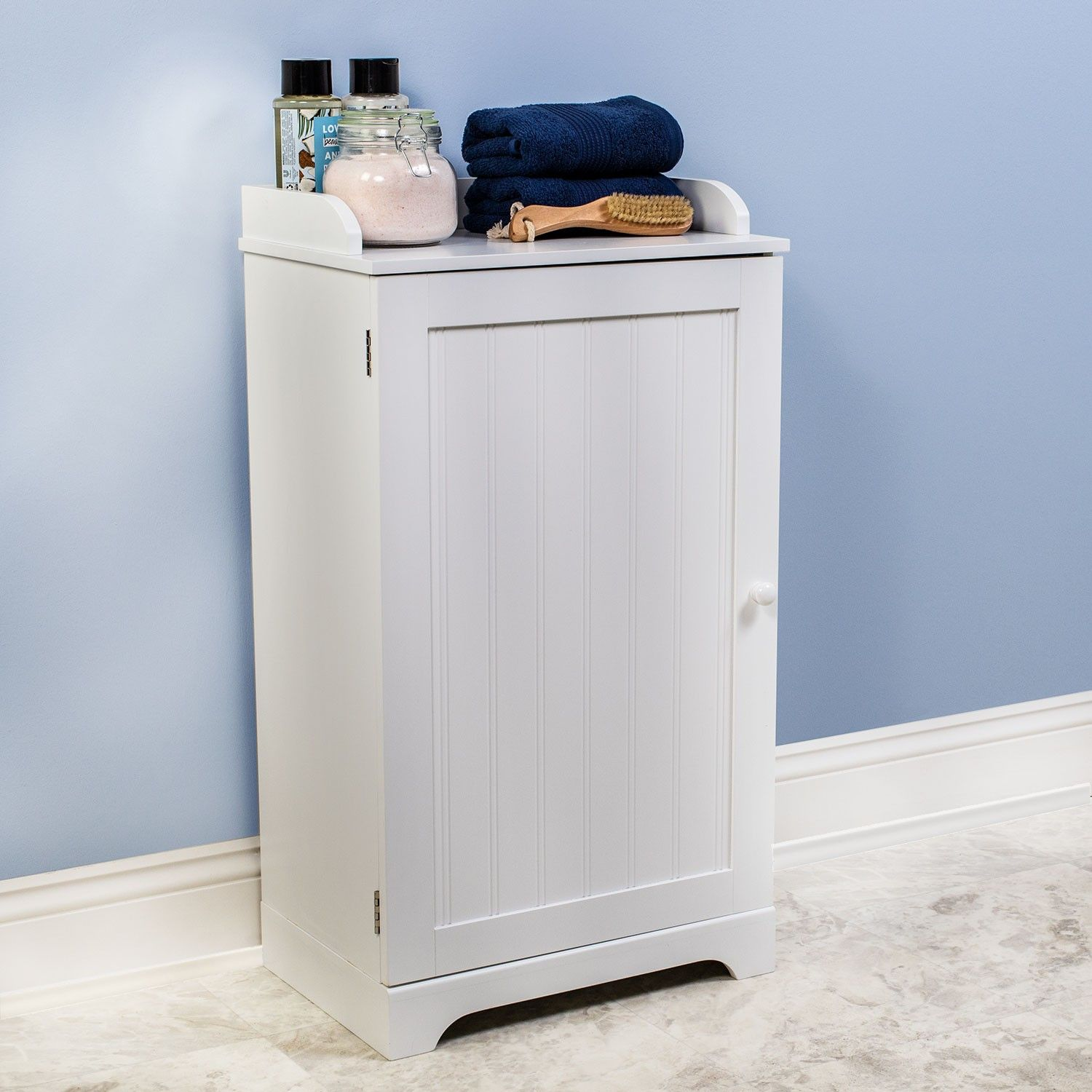 Bennington Country Cottage White Bathroom Floor Storage ...