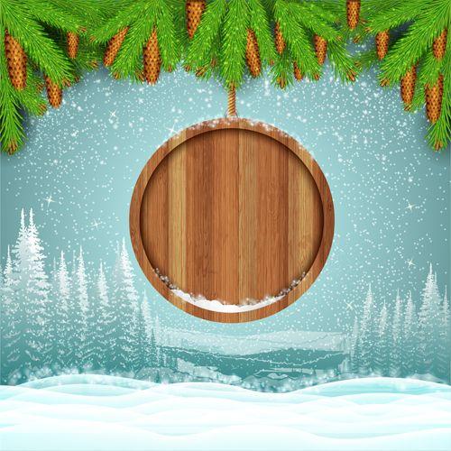 Wood barrel with christmas background design vector 10 Winter Art