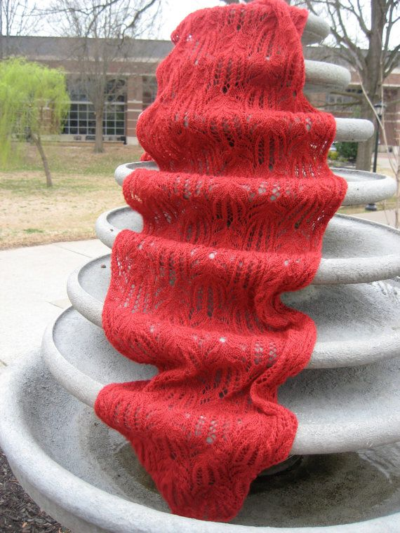 CUSTOM KNIT Amy Pond Red Lace Scarf Hand Knitted by Somewhen