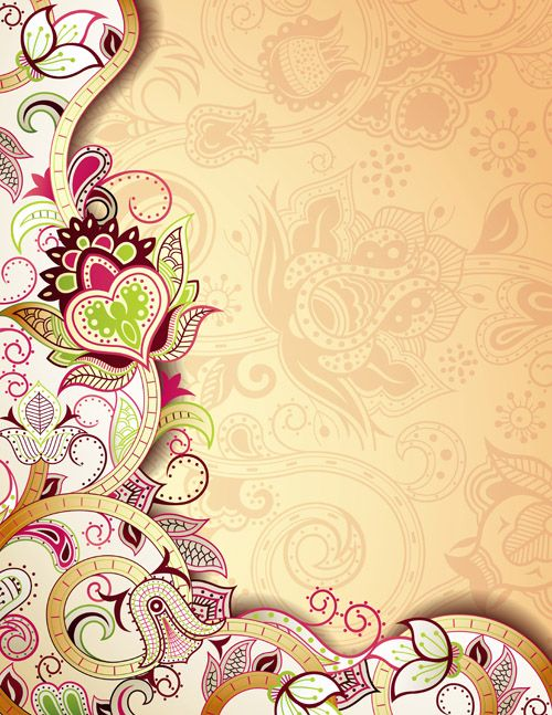 Floral Patterns retro style background 03 vector | free ...