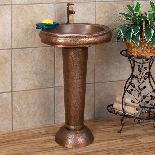 Oval Copper Pedestal Sink Hammered Exterior Smooth Basin Single Hole Faucet Hole Ebay Modern Pedestal Sink Pedestal Sink Pedestal Sinks