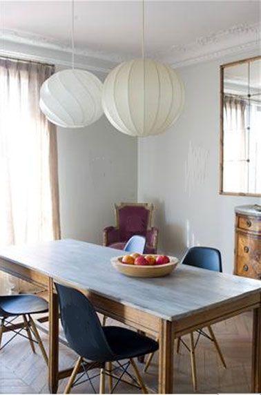 Salle A Manger Couleur Mur Gris Chaises Bleu Fauteuil Lie De Vin