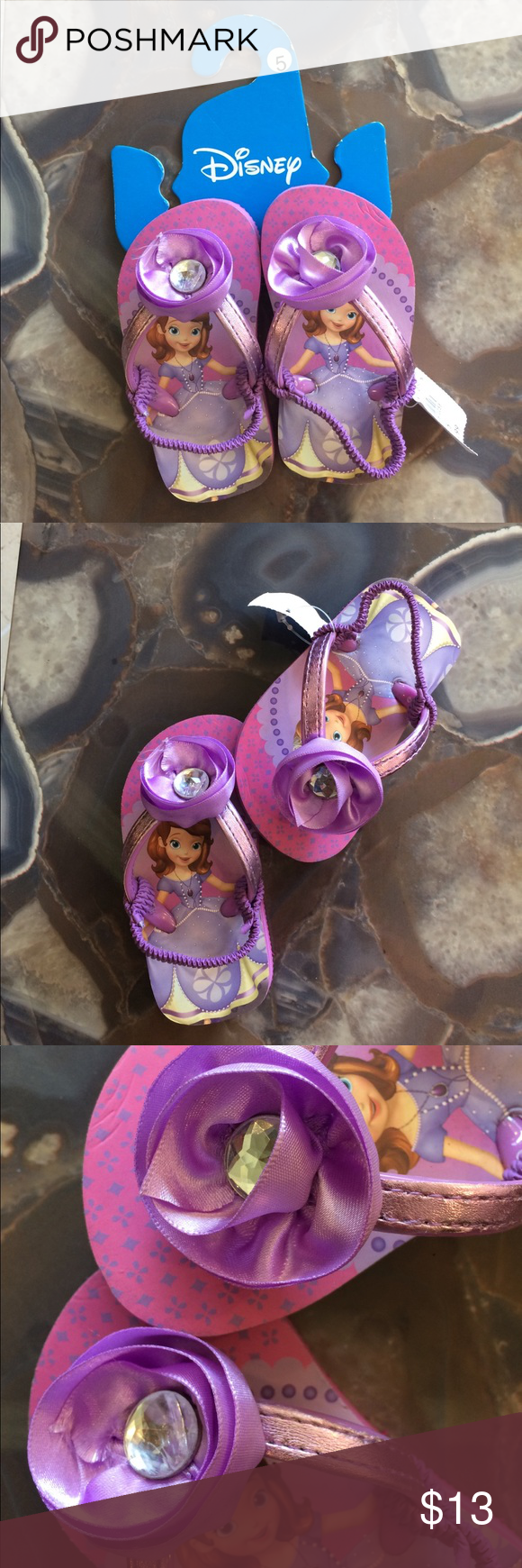 b8f8308d29af NWT- DISNEY PRINCESS SANDALS BY PAYLESS! Pretty lavender now with JEWLED  center! Purple elastic strap on back! Never worn! Disney Shoes Sandals   Flip  Flops