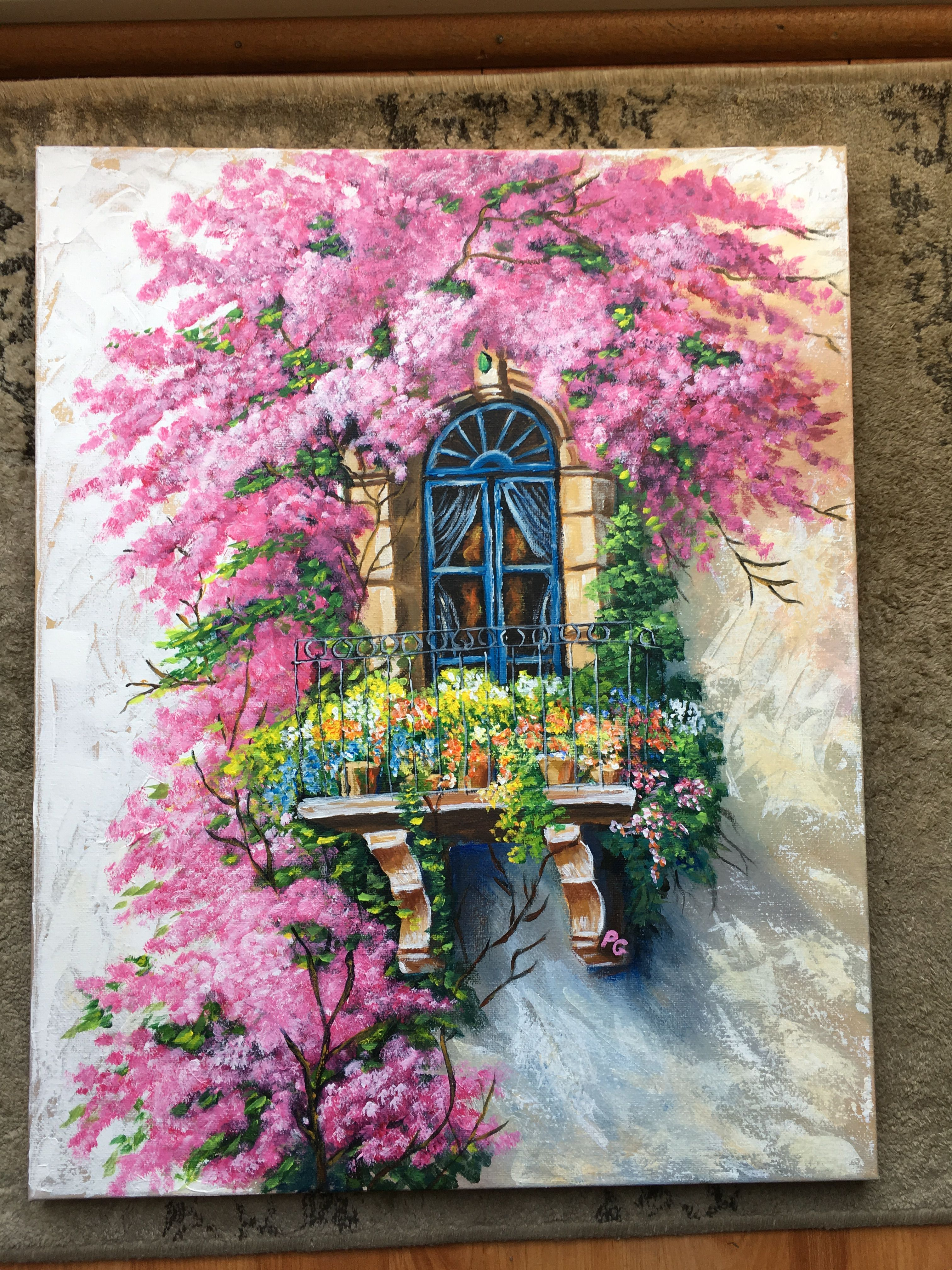 Balcony with bougainvilleas from youtube video by acrylic
