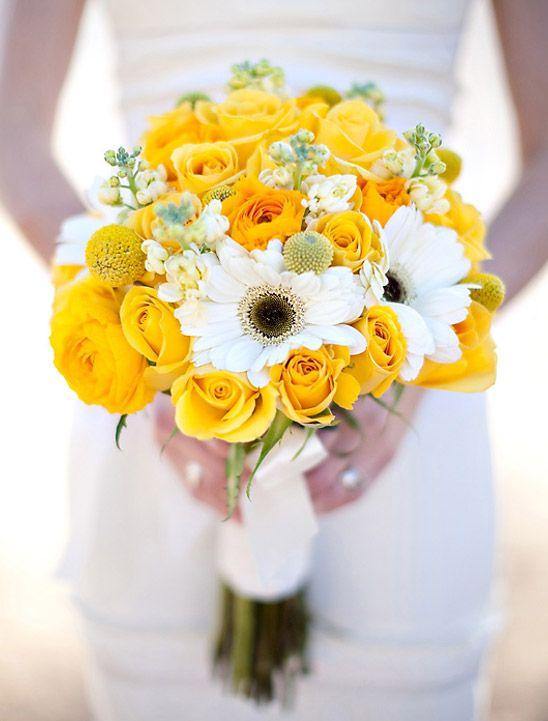 Bouquet de mariee jaune et gris