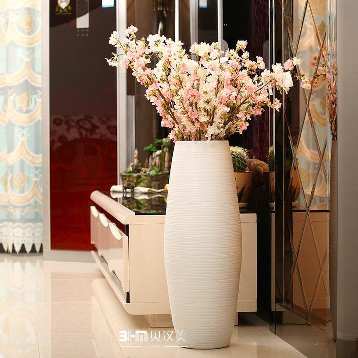 Modern ceramic vase fashion vase large floor vase white drum-inVases from  Home
