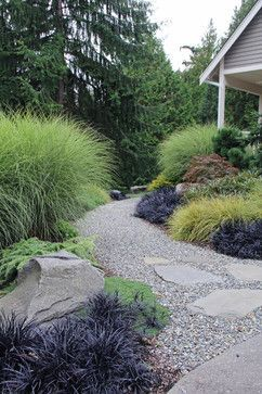 to gravel path using a few large stand up stones by suhr brown bainbridge island wa contemporary landscape seattle bliss garden design - Garden Design Using Grasses