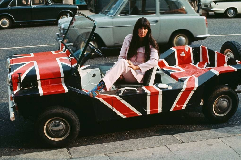 Two beauties caught in one frame - Singer Cher presenting the Mini Moke in London 1967. In all some 50,000 Moke's were ever produced between 1964-1993.