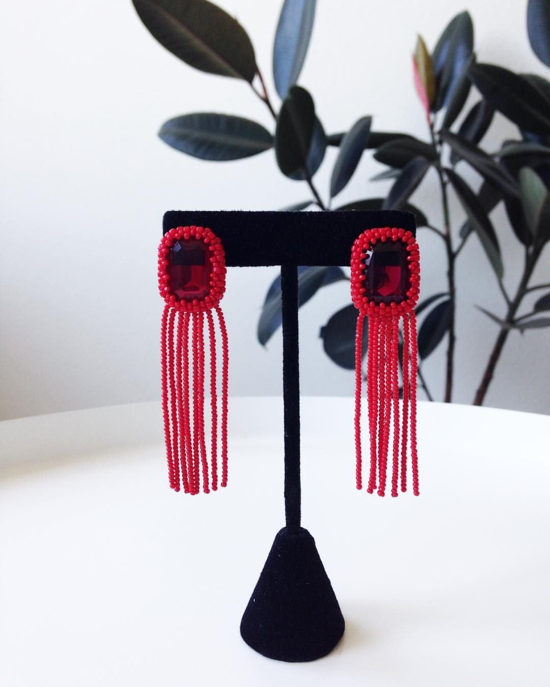 7e0854e7f Beaded Fringe Statement Earrings, handmade in Austin, Texas. These are a  one of a kind pair of earrings made with vintage glass beads.