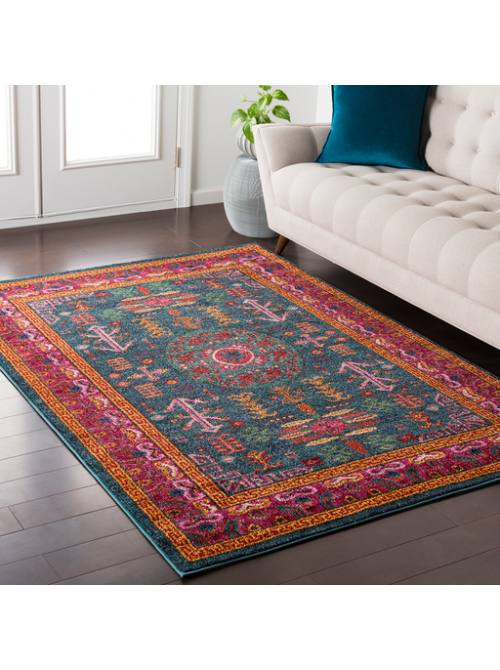 Mina Moon Rug Teal By Lulu And Georgia Simply Stunning Our Tribal Inspired Mina Moon Rug Features Intense Striking Hues That M Area Rugs Rugs Colorful Rugs