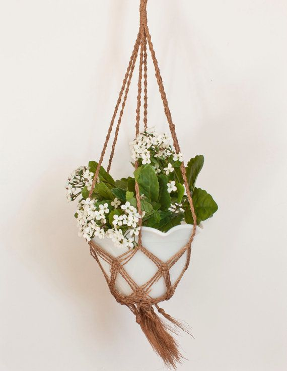 Vintage Macrame Plant Hanger Jute Natural Fiber by TheWildWorld, $14.00 // Etsy