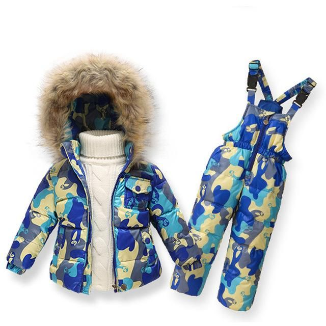 34768f2b7 Clearance Winter Girls Clothing Sets Ski Suit Boys Clothes Down Girl Jacket  Coat + Jumpsuit Set Warm Outerwear Kids Baby Overall