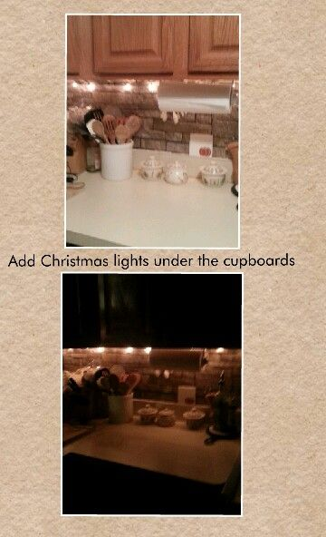 Christmas Lights In The Kitchen Under The Cupboards Christmas Lights Lights Apartment Living