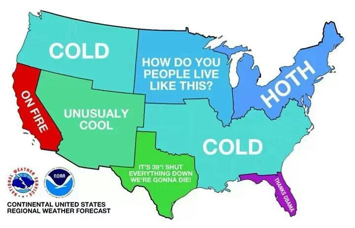 The US weather map lol | Funny weather, Winter forecast ...
