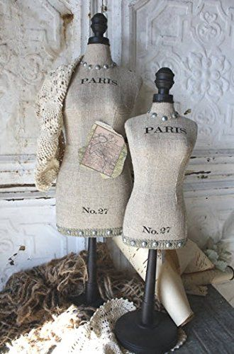 PARIS French Burlap Dress Form Jewelry Organizer Display 25in Ht SOC