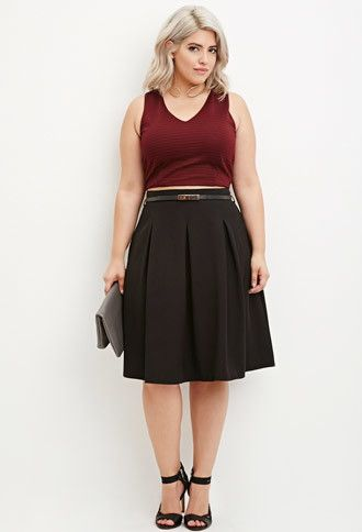 393adfe090 Forever 21+ - A knee-length skirt featuring allover box pleats, an invisible