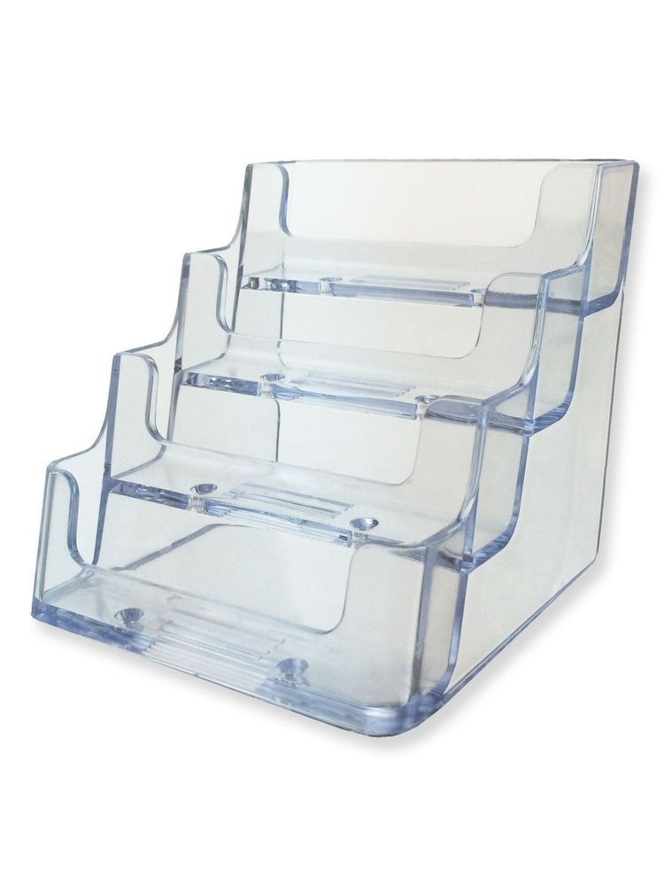 Business Card Holder 4 Tier Counter Clear Acrylic Hang Office Display Unbrandedgeneric Business Card Holders Clear Acrylic Gift Card Displays