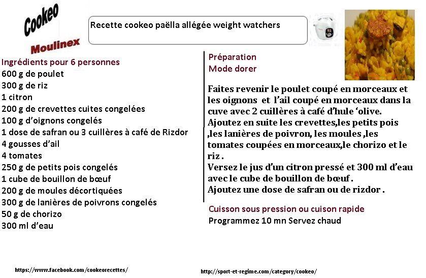 Découvrez cette recette cookeo de Paëlla weight watchers au cookeo. Vous  pouvez imprimez ou créer un PDF de cette fiche
