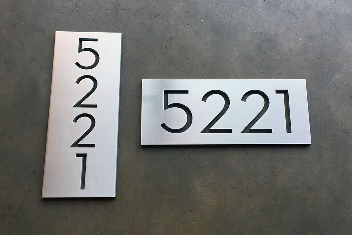 Modern house numbers plaques one address shown vertically and horizontally in our palm springs typeface we can customize our plaques to your needs