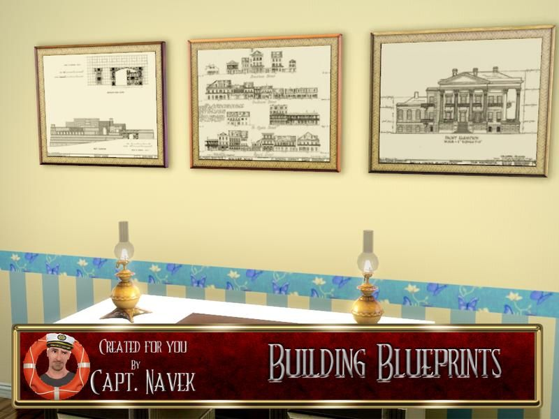 Naveks building blueprints sims 3 downloads wall decor building blueprints including ennis house found in tsr category paintings posters malvernweather Gallery