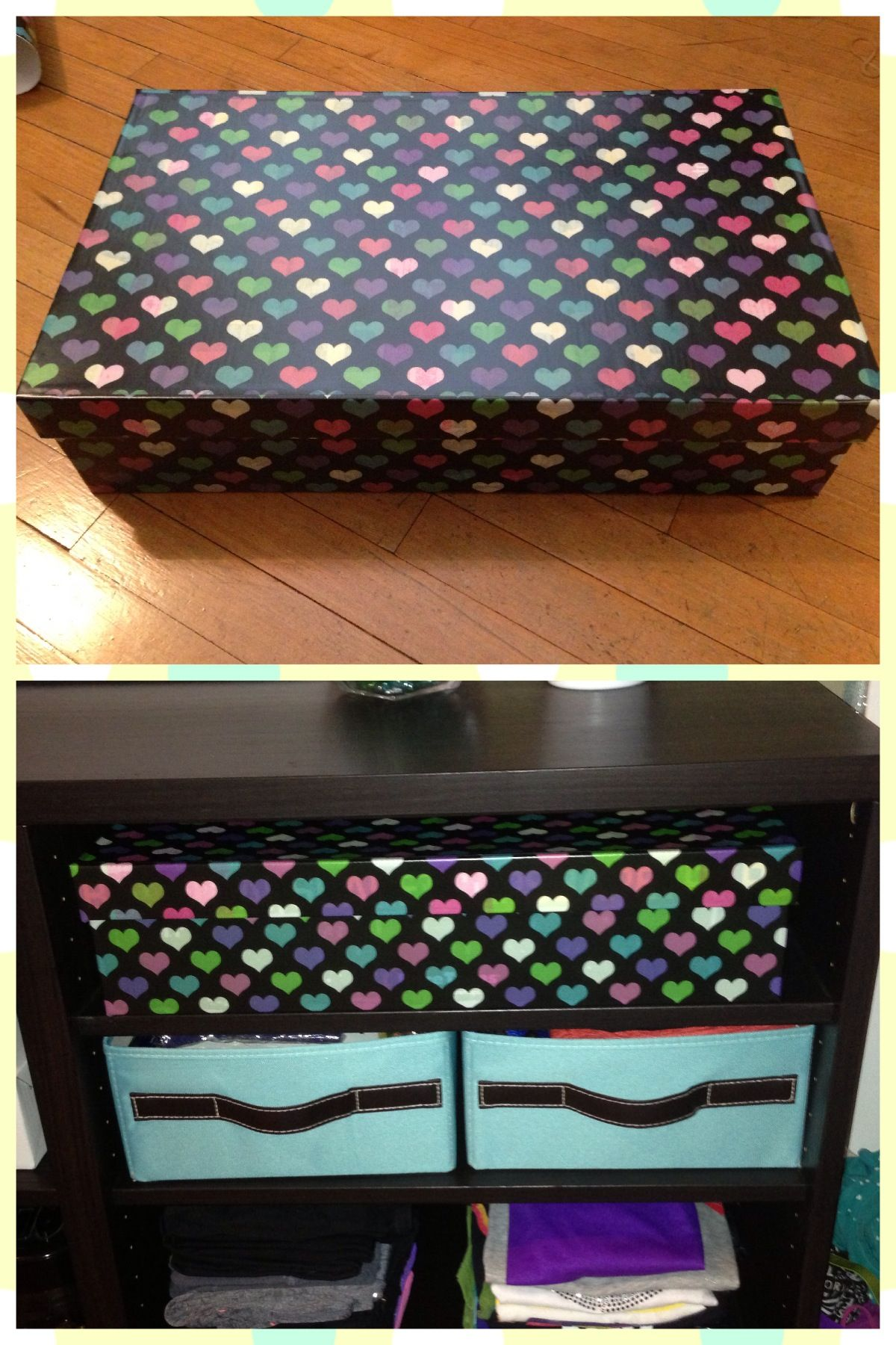 Diy recovered a shoe box with contact paperand voila
