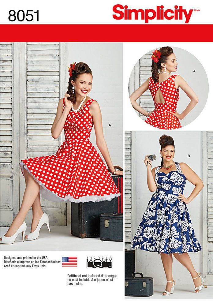 Simplicity 8051 Sewing Pattern Sew Plus Size Rockabilly Dresses ...