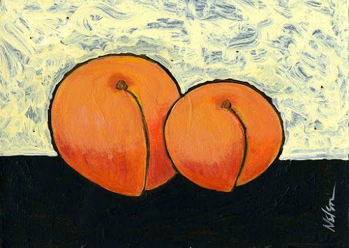 Pintura de dois pêssegos muito vívidos, de autoria de Janet Nelson - do blog Sun Tzu e A Arte da Guerra (http://www.suntzulives.com/).