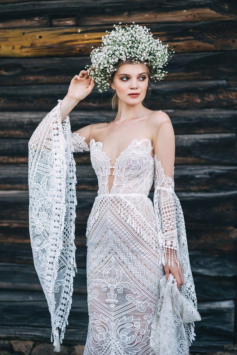 Boho wedding dress lari with long train mermaid wedding