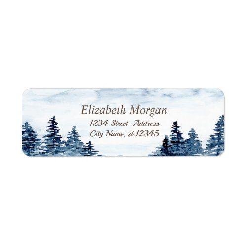 Watercolor Winter Wonderland,Forest Label