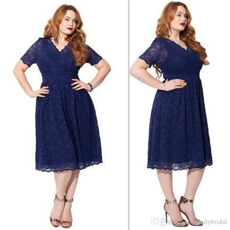 9c3d7059edf3f Plus Size Bridesmaid Dresses 2016 Navy Blue Full Lace V Neck Wedding Guest  Gowns Tea Length Short Sleeves Bridesmaids Dress Designer Bridal Gowns  Designer ...